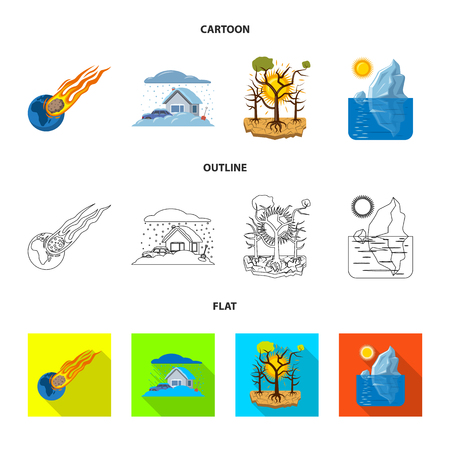 Vector illustration of natural and disaster icon. Set of natural and risk vector icon for stock.  イラスト・ベクター素材
