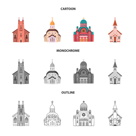 Vector illustration of cult and temple symbol. Collection of cult and parish stock vector illustration. Vector Illustration