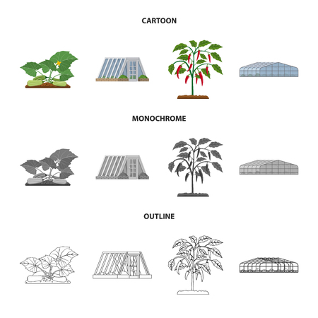 Isolated object of greenhouse and plant sign. Collection of greenhouse and garden stock vector illustration.