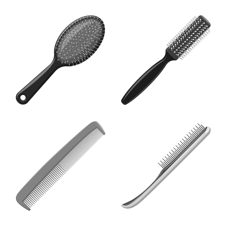 Vector illustration of brush and hair icon. Collection of brush and hairbrush stock vector illustration.