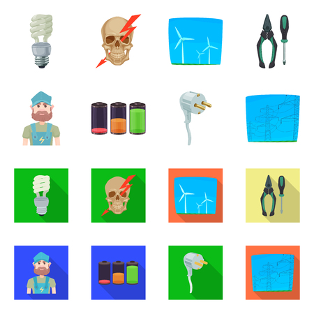Vector design of electricity and electric symbol. Set of electricity and energy vector icon for stock.