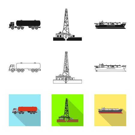 Isolated object of oil and gas sign. Set of oil and petrol vector icon for stock. Illustration