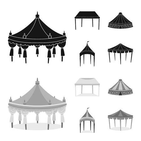 Isolated object of roof and folding logo. Set of roof and architecture vector icon for stock.