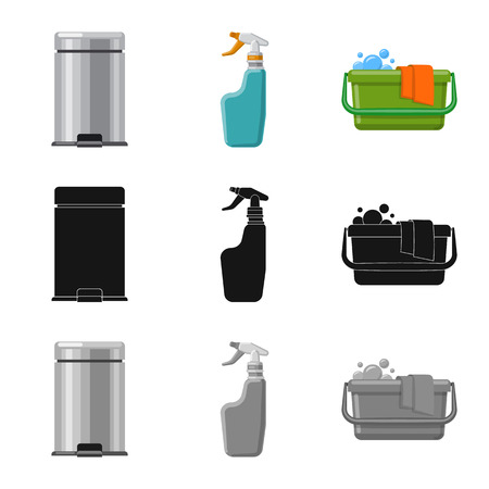 Vector illustration of cleaning and service symbol. Set of cleaning and household stock symbol for web.
