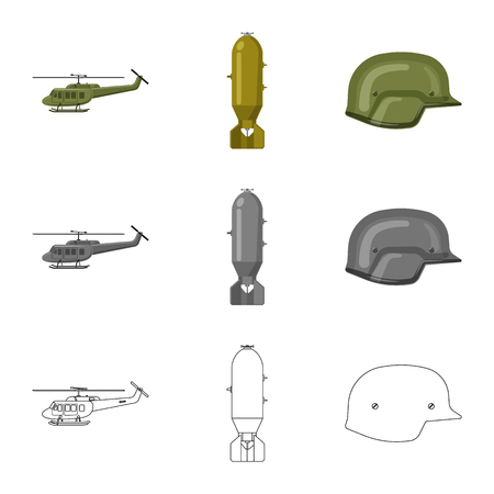 Vector illustration of weapon and gun sign. Collection of weapon and army vector icon for stock. Illustration