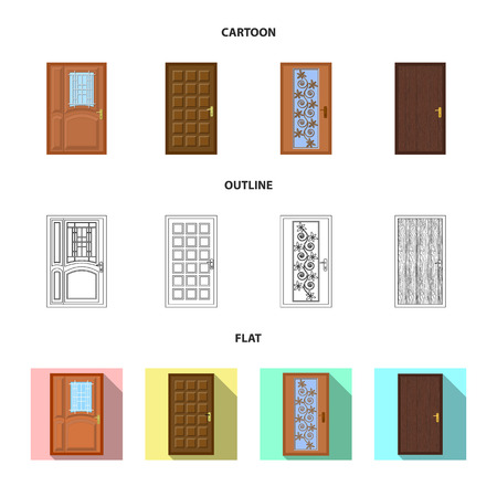 Vector design of door and front icon. Collection of door and wooden vector icon for stock.
