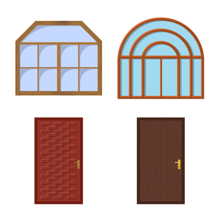 Isolated object of door and front icon. Collection of door and wooden vector icon for stock. Stock Illustratie