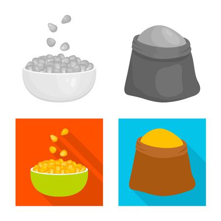 Vector illustration of cornfield and vegetable symbol. Set of cornfield and vegetarian stock symbol for web. Ilustração