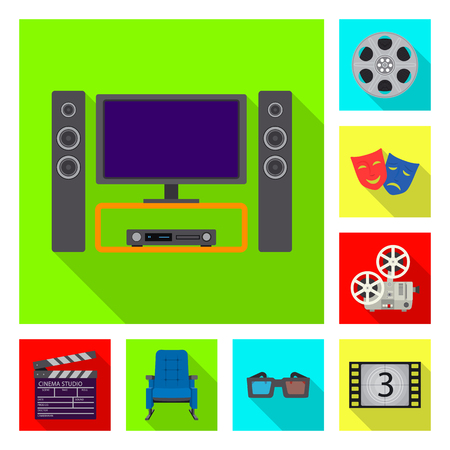Isolated object of television and filming icon. Collection of television and viewing stock symbol for web.