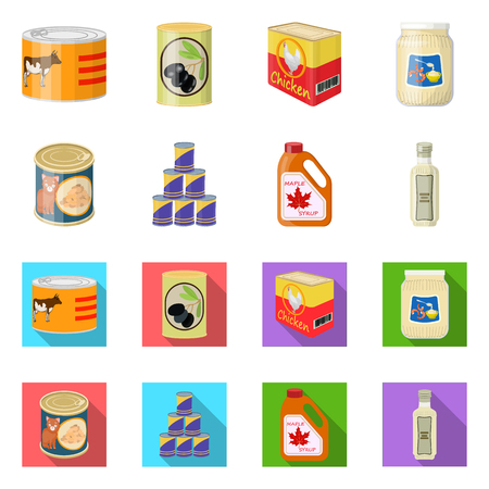 Isolated object of can and food icon. Collection of can and package stock vector illustration.