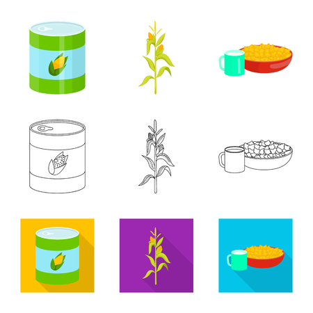 Vector design of cornfield and vegetable icon. Collection of cornfield and vegetarian stock vector illustration.