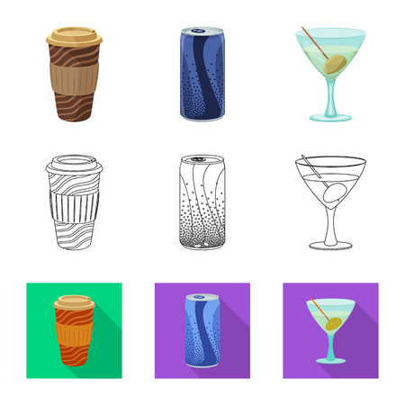 Vector design of drink and bar logo. Set of drink and party stock symbol for web. Ilustrace