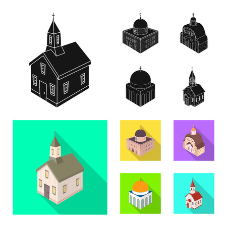 Vector design of temple and historic logo. Collection of temple and faith vector icon for stock.