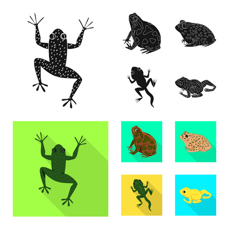 Vector illustration of wildlife and bog logo. Set of wildlife and reptile stock symbol for web. Иллюстрация