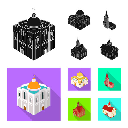 Isolated object of temple and historic icon. Set of temple and faith stock vector illustration. Çizim