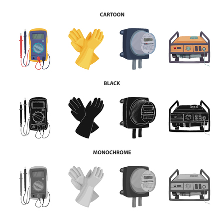 Isolated object of electricity and electric icon. Set of electricity and energy stock vector illustration. Ilustração