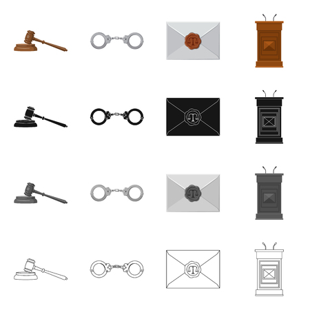 Isolated object of law and lawyer icon. Collection of law and justice vector icon for stock. Ilustração