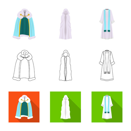 Vector illustration of material and clothing sign. Set of material and garment stock vector illustration. 일러스트