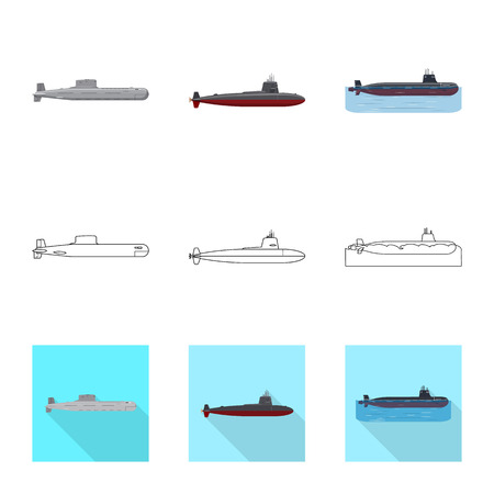 Vector illustration of war  and ship symbol. Collection of war  and fleet stock vector illustration. Stock Illustratie