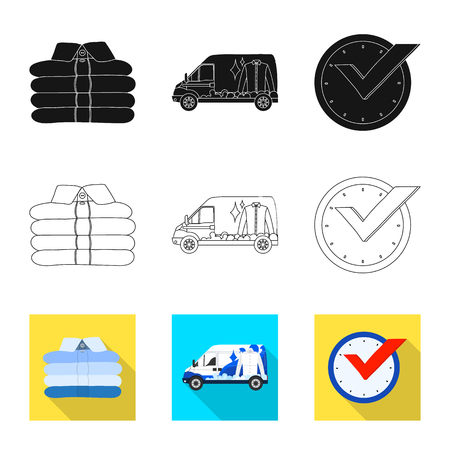 Isolated object of laundry and clean icon. Set of laundry and clothes vector icon for stock.