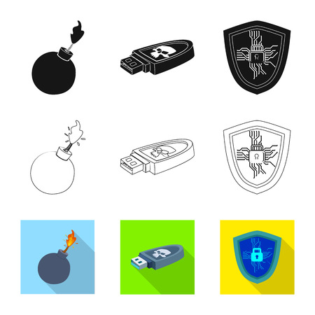 Isolated object of virus and secure icon. Set of virus and cyber stock symbol for web.