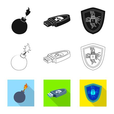 Oggetto isolato di virus e icona sicura. Set di virus e cyber simbolo azionario per il web.