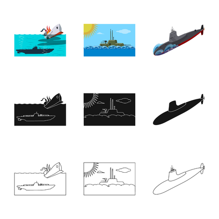 Vector illustration of war  and ship logo. Collection of war  and fleet stock symbol for web. Vettoriali