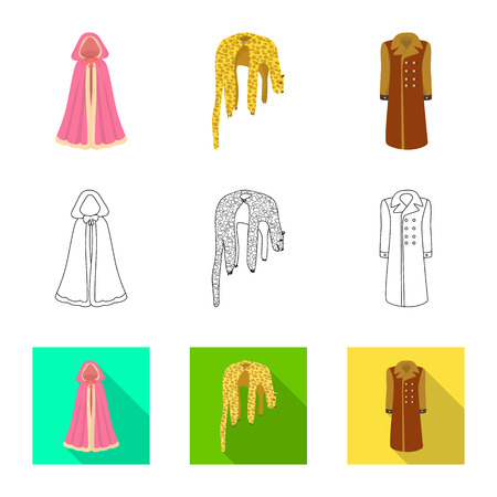 Vector illustration of material and clothing icon. Set of material and garment stock symbol for web.