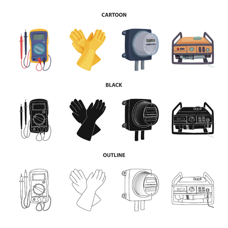 Isolated object of electricity and electric symbol. Collection of electricity and energy vector icon for stock.