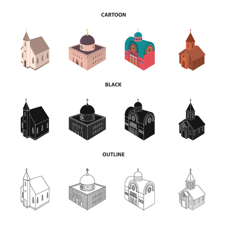 Vector design of temple and historic logo. Set of temple and faith vector icon for stock.