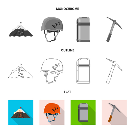 Vector illustration of mountaineering and peak sign. Collection of mountaineering and camp stock symbol for web. Illustration