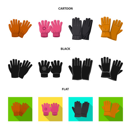 Isolated object of glove and winter symbol. Set of glove and equipment stock symbol for web.