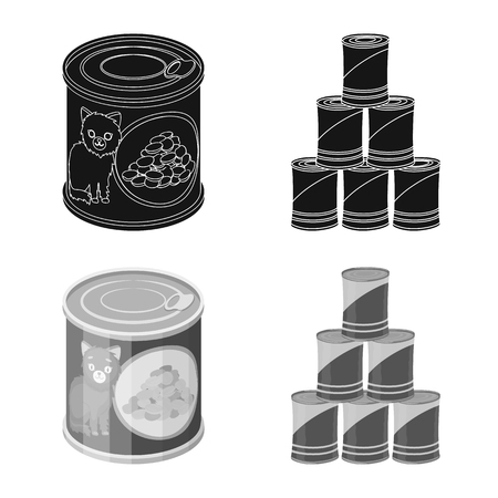 Vector design of can and food icon. Collection of can and package stock symbol for web. Vettoriali