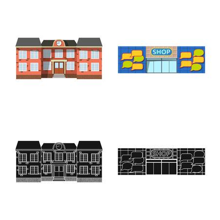 Vektorillustration des Gebäudes und des vorderen Zeichens. Sammlung von Gebäude- und Dachvorratvektorillustration. Vektorgrafik