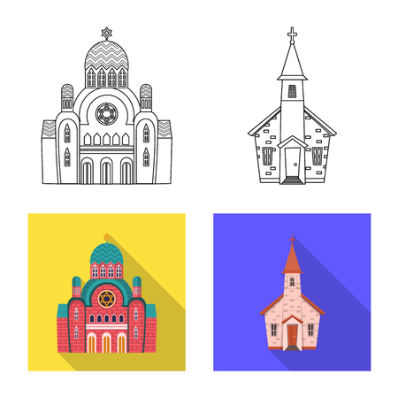 Isolated object of cult and temple icon. Set of cult and parish stock vector illustration. Archivio Fotografico - 124278786