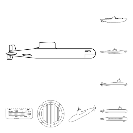 Vector illustration of boat and navy icon. Set of boat and deep vector icon for stock.