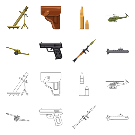 Isolated object of weapon and gun symbol. Collection of weapon and army stock symbol for web.