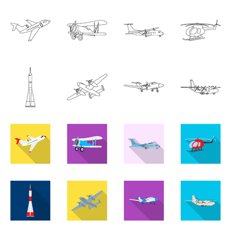 Vector design of plane and transport sign. Set of plane and sky vector icon for stock.