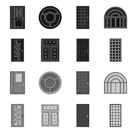 Isolated object of door and front icon. Collection of door and wooden stock symbol for web.