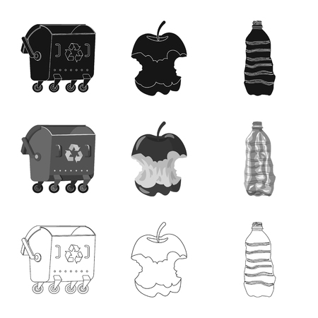 Vector design of dump  and sort icon. Set of dump  and junk vector icon for stock.