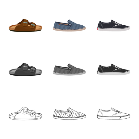 Vector design of shoe and footwear icon. Collection of shoe and foot stock vector illustration.