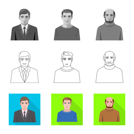 Vector illustration of hairstyle and profession sign. Set of hairstyle and character stock symbol for web.