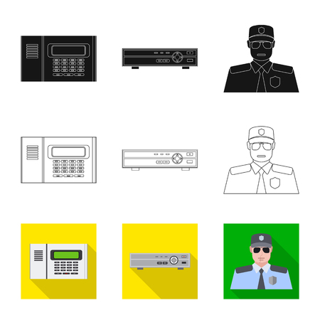 Isolated object of office and house logo. Collection of office and system vector icon for stock. Illustration