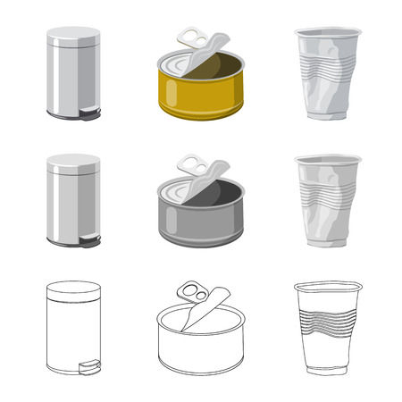 Isolated object of dump and sort icon. Set of dump and junk stock symbol for web.