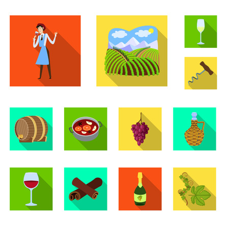Vector design of farm and vineyard logo. Set of farm and product stock symbol for web.