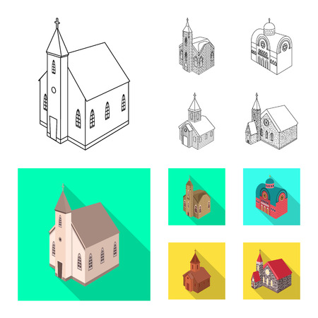 Vector illustration of temple and historic symbol. Collection of temple and faith stock symbol for web. 向量圖像