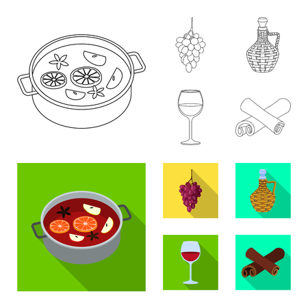 Vector illustration of farm and vineyard icon. Set of farm and product stock vector illustration.