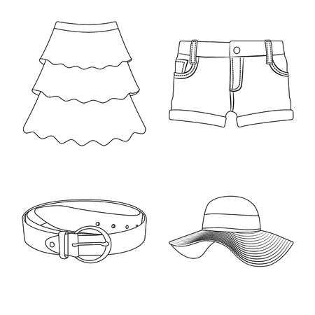 Isolated object of woman and clothing logo. Set of woman and wear vector icon for stock.