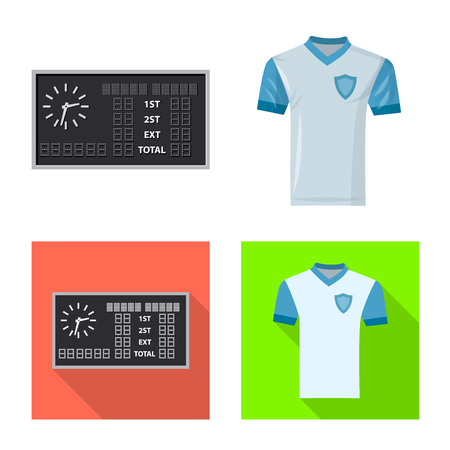 Vektorillustration des Fußball- und Ausrüstungssymbols. Satz Fußball- und Turnierbestandssymbol für Web. Vektorgrafik