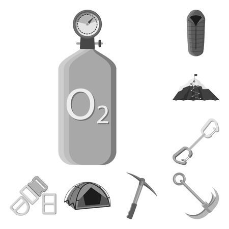 Vector illustration of mountaineering and peak symbol. Set of mountaineering and camp stock symbol for web. Illustration